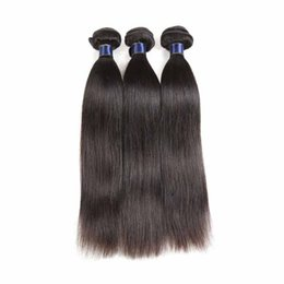 Cheap Natural Hair Wefts UK - 100% Human Hair Weaves Brazilian Virgin Hair Wefts 10-20 inch Straight Style Natural Color Cheap Remy Human Hair Extensions