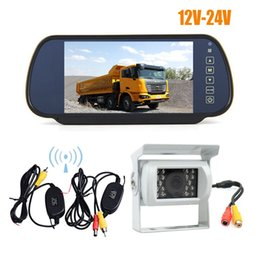 "reverse camera wireless Australia - Wireless White 18 LED IR Night Vision CCD Reverse Parking Backup Camera + 7"" LCD Mirror Monitor Car Rear View Kit Parking Assistant 12V-24V"