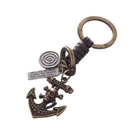 $enCountryForm.capitalKeyWord Canada - Anchored pirate skull ONE PIECE Leather Vintage Punk Key Chains Car keyChains leather keychain bag pendant Key Rings Keyrings