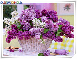 painting basket NZ - 5D Diy diamond painting cross stitch kit rhinestone mosaic home decor gift flower orchid basket full square&round diamond embroidery CC061