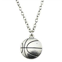 $enCountryForm.capitalKeyWord Australia - WYSIWYG 5 Pieces Metal Chain Necklaces Pendants Hand Made Necklace Men Basketball 22x18mm N2-B13295