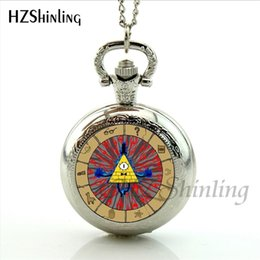 Silver Falls Australia - Retro Vintage Bronze Bill Cipher Gravity Falls Pocket Watch Analog Pendant Pocket Watch Necklace Men Women Watches Chain Gift