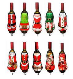 Hot lady cartoon online shopping - Hot Festive Small Apron bottle Wine Cover Christmas Sexy Lady Xmas Dog Santa Pinafore red wine bottle wrapper Holiday Bottle clothes Dress