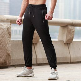 bb2fb8ac75e8 2018 Summer Thin Men Running Pants With Zipper Pocket Breathable Soccer Training  Pants Jogging Fitness Workout Sport Trousers