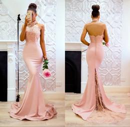 pink bridesmaid dressing gown silk 2019 - Vestidos Cortos de Modest Long Lace Prom Party Dresses 2018 Mermaid Halter Backless Bridesmaid Dress Women Gowns cheap p