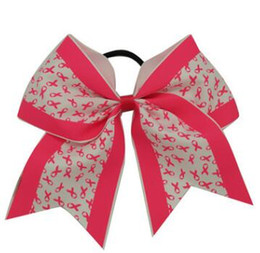Discount cheerleader hair 7 inch Large Newset Breast Cancer Awareness Cheer Bow With Elastic Band For Cheerleader baby headbands Girl Hair Accesso
