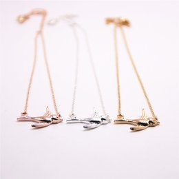 $enCountryForm.capitalKeyWord UK - 10PCS lot Fashion Rose gold plating necklace Solid swallow necklaces for women wholesale and mixed color free shipping