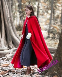 Women Velvet Clothes Australia - Women Christmas Red Velvet Cape Hooded Poncho Shawl Plush Trimming Adult Xmas Party Stage Wear Winter Cloak Outwear Coats Lady Clothes