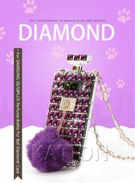 Venta al por mayor de Cubierta de lujo del teléfono del diamante de la cadena 3D del acollador para LG Stylo4 Ms210 LV5 Ihone xr xsmax 8 7 6 s S9plus Caja de la botella de perfume del diamante