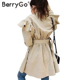 cd6da31a3e9c BerryGo Ruffle trench coat women outerwear coats Autumn pink streetwear  trench 2017 Casual sash pocket outwear female coat