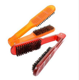 hair straightening salons NZ - V-type Clip Straight Hair Comb Salon Style Hairdressing Bristle Hair Straightening Brush Double Clamp Comb Fashion Styling Tools