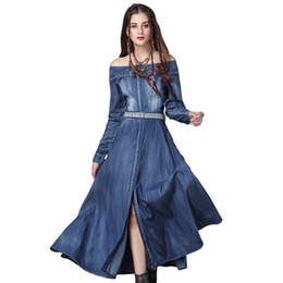 28e6cce471d Women Lady Girls Casual Fashion Spring Denim Skirt Retro Stitching Belt  Long Sleeve Blue Dress Clothes 3721
