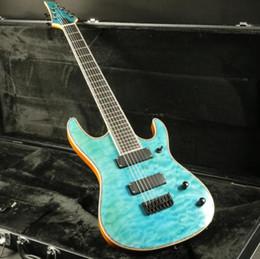 $enCountryForm.capitalKeyWord Canada - 2018 Stock High Quality 7 Strings Electric Guitar Quilted maple Top Veneer Ebony Fingerboard Strings thru body Fixed Bridge
