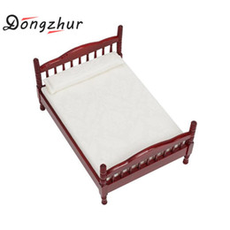 Dongzhur Dollhouse Miniatures 1:12 Accessories Mini Bed Toy Doll House  Bedroom Furniture Mahogany Double Bed Wooden Toy House Discount Wooden Dolls  House ...