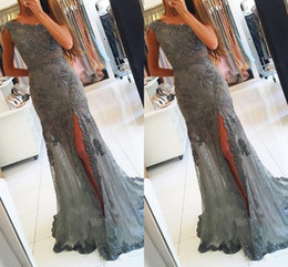 Wholesale 2019 One Shoulder Evening Dresses Long Beadings Prom Dresses Mermaid With Split Evening Formal Dresses Custom Made