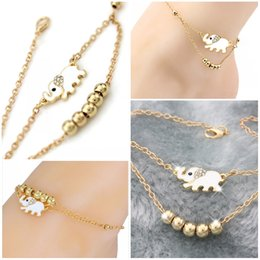 Discount girls cute anklet feet - Fashion Elephant Beads Anklet For Women Girls Gift Gold Color Wholesale Cute Animal Summer Jewelry Foot Ankle Chains D94