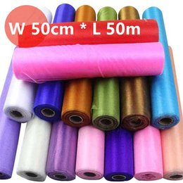 Table Runners Crystals Australia - 50cm*50meters Wedding Table Runner Decoration Yarn Roll Crystal Tulle Organza Sheer Gauze Element Casamento Favors Supplies