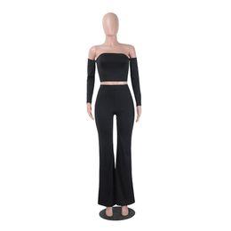 $enCountryForm.capitalKeyWord UK - Sexy Strapless 2 Piece Crop Top Jumpsuit Women Long Pants Jumpsuit Slim Backless Bodycon Femme Overalls Playsuit Romper