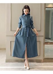 b68e95e64c0 Vintage Long Denim Shirt Dress Women Lapel Side High Split Straight Jeans  Maxi Dress Double Breasted Button Casual Plus Size