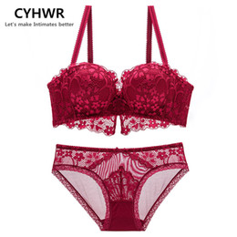 e56162d9f9 wholesale Luxury Comfortable Breathable Lace top lingerie panty Women half  cup women sexy bra set