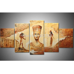 decorative hand paintings Australia - 100% Hand Painted Abstract Modern Wall Deco Oil Painting:Egyptian statues decorative wall pictures painting art