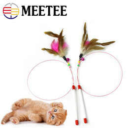 wholesale toys fishing UK - Cat Charmer Wand Pet Steel Feather Funny Cat Toy Interactive Training Toy Fishing Cat Pet Supplies DC-329