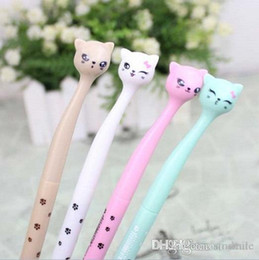 Wholesale Writting Pen Australia - Wholesale-New Sweet Stand Cat design Needle series gel pen 0.5mm Black ink pens for Writting Office supply Stationery Wholesale