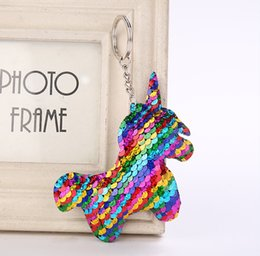 kids toy car keys 2019 - Cute Unicorn Keychain Glitter Pompom Sequins Key Ring Gifts for Women Llaveros Mujer Charms Car Bag Accessories Key Chai