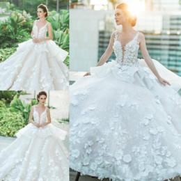 $enCountryForm.capitalKeyWord NZ - White Lace Appliques Ball Gown Wedding Dresses 2019 Spring Summer Sheer Sleeveless Peplum Custom Made Vestidos wedding dresses