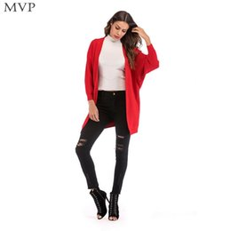 batwing bat sleeve cardigan NZ - Spring Bat Front Women Yellow Winter Sweater Black Casual Neck Open Red Autumn V Coat Solid Sleeve Long Fashion Cardigan