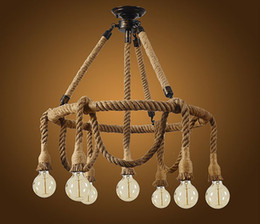 Rope light ceiling online shopping - country retro restaurant cafe bar chandelier rope winding creative ceiling lamps Industrial wind LLFA