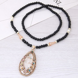 $enCountryForm.capitalKeyWord Australia - Vintage Retro Fashion Accessories Jewelry Color Shell Rhinestone Flower Water Drop Pendant Bead Chian Charm Long Sweater Necklaces For Women