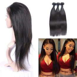 Discount virgin peruvian hair bundles lace frontal - Indian Human Hair Weaves With 360 Frontal Lace Closure Natural Hairline Virgin Straight Hair Bundles With Closure