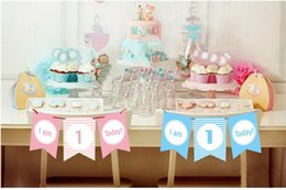 Discount banner string - 1 year old baby Glitter Happy Birthday Banner Gold Letters Hanging Garlands Pastel Pink String Flags Baby Shower Party D