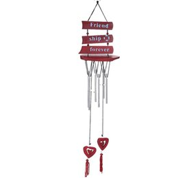 Unique Designs Decorations UK - Wooden Sailboat Style Design Wind Chime Bell With Silvery Copper Pipe Ornaments For Indoor Courtyard Unique Decoration Hot Sale 5 8bza Z
