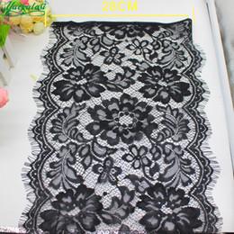 Nylon Knit Fabric Canada - Yackalasi 6 Meters Soft Knitted Eyelash Lace Fabrics Shiny 100 %Nylon Underwear Lace Black And White Trims 28cm Wid *300cm #4