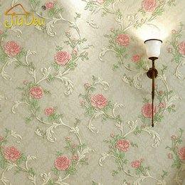 Romantic Pastoral Bedroom Non Woven Wallpaper 3D European Rose Flower  Living Room Sofa TV Background Wall Wallpaper Home Decor Cheap Roses Wallpaper  Home ...