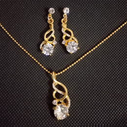 wedding gold crystals Australia - 18K Gold Screw Zircon Crystal Pendant Necklaces & Earrings Fashion Helix Diamond Jewelry Sets For Women Wedding Party Gift