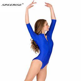 e2dc0cf08da Adult Long Sleeve Ballet Dance Gymnastics Leotards Women Bodysuit High Neck  Elastic Black Leotard Lycra Spandex Unitard Dancewea