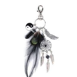 Black Opal Stone Schlüsselanhänger Opala Carro Feather Dreamcatcher Men Ledertasche Schlüsselbund Car Keychain Schlüsselhalter Damen Schmuck