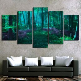 fairy canvas art UK - 5 Piece HD Printed Wall Art Canvas Painting Green Tree Abstract Fairy Tale Forest Poster and Prints Modular Pictures