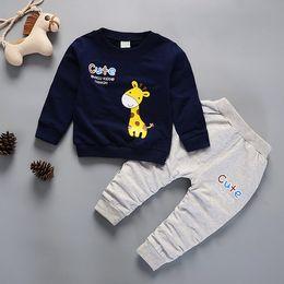 84c3662d4df84c Kids spring autumn Clothes Cute Giraffe Printed T-shirt pants Set  Comfortable Warm Children Clothing baby boys Winter clothing