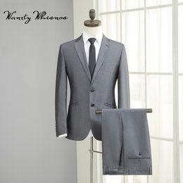 $enCountryForm.capitalKeyWord NZ - High Quality Brand Mens Business Suit 2018 Wedding Suits For Men Grey Blazer Two Buttons Suit Male S18101902
