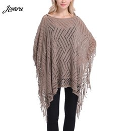 Shirt Poncho Australia - 1pc Autumn Spring Ladies Poncho Hollow Out Shirts for Women Acrylic Tassel Decor Female Cloak Ladies Casual Solid Color Poncho
