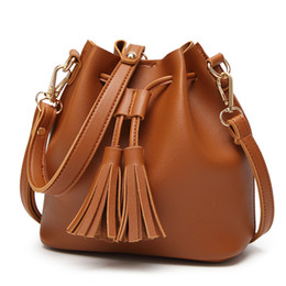 a68b250f939f Women Package Woman Bucket Tassels Winter New Pattern Single Shoulder Span  Bag Brown Leather Handbag Designer Tote Purses PU Wholesale