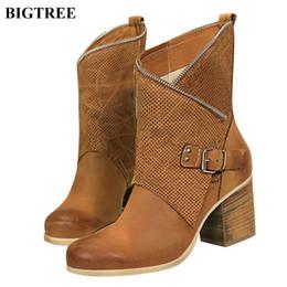 192153f4 Hebilla del cinturón retro botas de montar de las mujeres Nueva punta  redonda de madera tacones de grano Botas cortas Cremallera PU Zapatos de  tacones altos ...