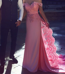 $enCountryForm.capitalKeyWord NZ - Off the Shoulder Pink Wedding Dress Colored Sweetheart Lace on Satin Sheath Mermaid Empire Bridal Gown for Girls