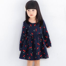 Cherry Dress 4t Canada - 2017 New Spring Summer Kids Girls Dresses Long Sleeve Cherry Print Dress Soft Cotton Princess Party Dress Girls Clothes For 3-9Y
