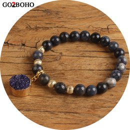 $enCountryForm.capitalKeyWord NZ - Go2boho Dropshipping 8MM Beaded Bracelet Round Gem Pendant Bracelets Men Charm Bangles Natural stones Women Friendship Jewelry