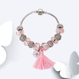 Pandora Silver Plate Bracelets NZ - Cute Women's Blue Pink tassel Bracelet for Pandora 925 Sterling Silver plated Charm Snake Chain Bracelets